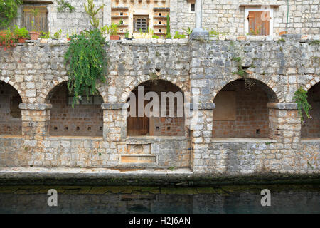 Arches on the north side of the fishpond wall, Tvrdalj Castle, Stari Grad, Hvar Island, Croatia, Dalmatia, Dalmatian - Stock Photo