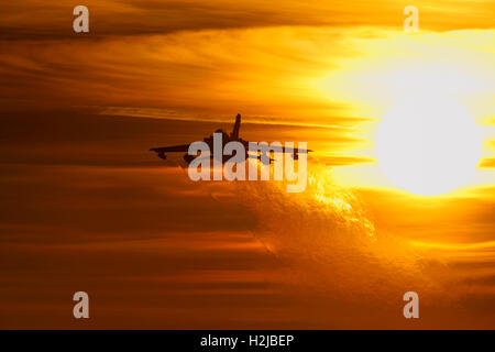 Panavia Tornado GR4 departing from RAF Marham at sunset - Stock Photo