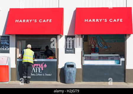 Harry's Cafe, part of Harry Ramsden's the Worlds Most Famous Fish & Chips eatery at Bournemouth in September - Stock Photo