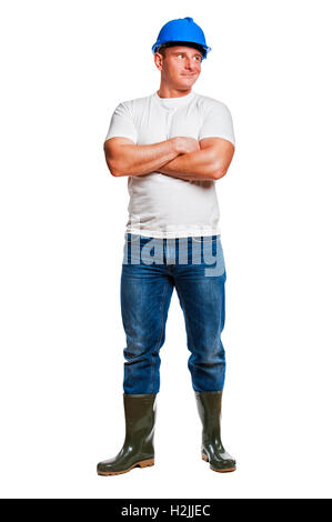 Worker man isolated with helmet. Look right. - Stock Photo