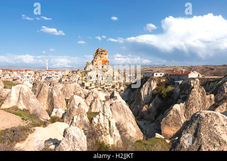 Town of Ortahisar in Cappadocia, Turkey - Stock Photo