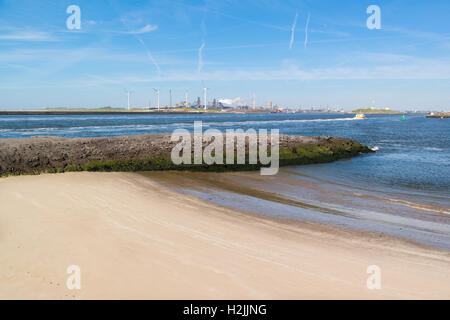 North Sea Canal and steel industry plant in seaport IJmuiden near Amsterdam, Netherlands - Stock Photo