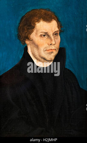 Martin Luther (1483-1546), wedding portrait by the workshop of Lucas Cranach the Elder, oil on wood, c.1526. - Stock Photo
