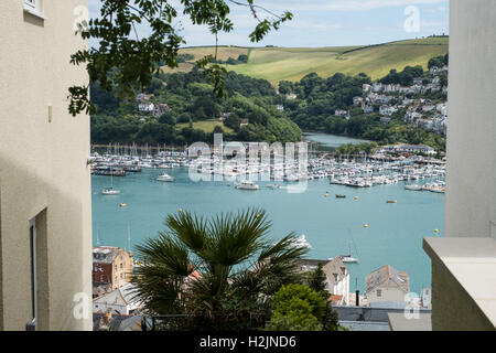 A view overlooking Dartmouth, Kingswear and the River Dart, South Hams, Devon, England, UK. - Stock Photo
