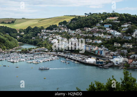 A viecolorw overlooking Dartmouth, Kingswear and the River Dart, South Hams, Devon, England, UK. - Stock Photo