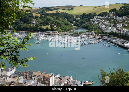 colorA view overlooking Dartmouth, Kingswear and the River Dart, South Hams, Devon, England, UK. - Stock Photo