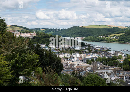 A view overlooking Dartmouth the Britannia Royal Naval College and the River Dart, South Hams, Devon, England, UK. - Stock Photo