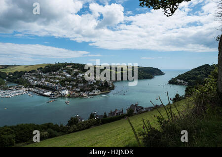 A view overlooking the River Dart, Dartmouth to Kingswear and the mouth of the River Dart, South Hams, Devon, England, - Stock Photo