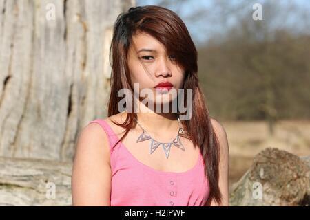 Filipina Model  Richmond Park ... - Stock Photo