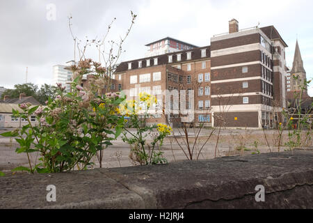 29th September 2016, Flowers in front of the old West wing of Cardiff Royal infirmary. - Stock Photo