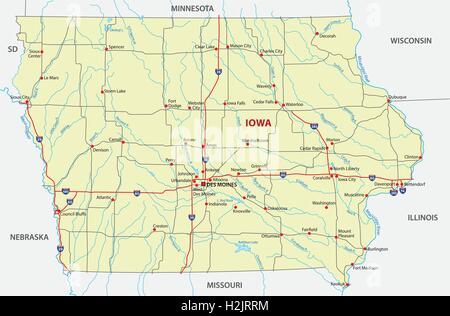 Iowa State Political Map Stock Photo Royalty Free Image - Iowa road map