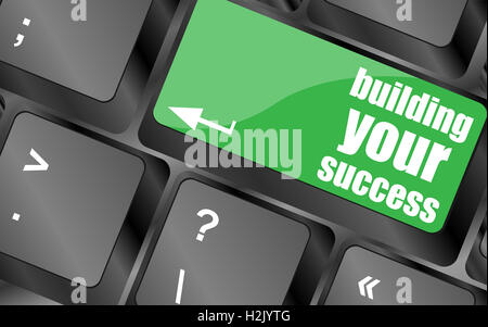 building your success words on button or key showing motivation for job or business - Stock Photo
