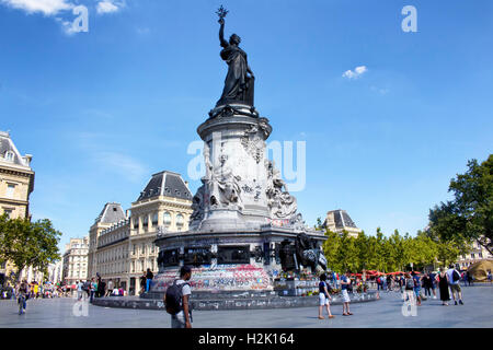 View of statue Andre Tollet at republic square in Paris. People hang out around it. - Stock Photo
