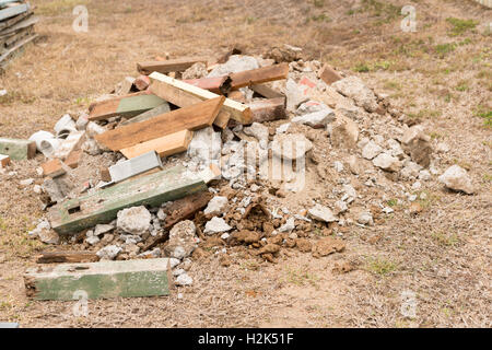 Pile of builder's rubble / rubbish on construction site - Stock Photo