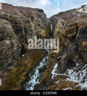 Canyon of Glymur, 196 meter high waterfall, Hvalfjarðarsveit, Western Region, Iceland - Stock Photo