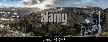 Canyon of Glymur, 196 meter high waterfall, Hvalfjarðarsveit, Western Region, Iceland, Iceland - Stock Photo
