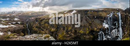 Canyon of Glymur, 196 meter high waterfall, Hvalfjarðarsveit, Western Region, Iceland - Stock Photo