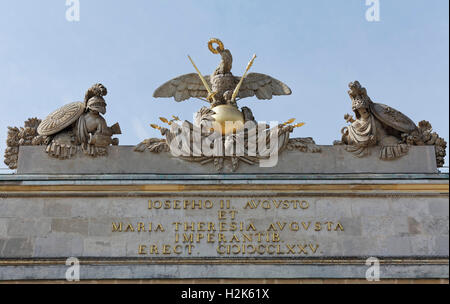 Inscription, Josef II and Maria Theresa, imperial eagle on globe with sceptre, sword and crown, portal, Gloriette - Stock Photo