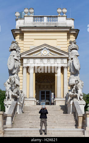 Stairway to Gloriette, Schönbrunn Palace, Hietzing, Vienna, Austria - Stock Photo