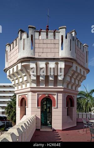 Small tower on roof terrace, Palacio de Valle, architect Alfredo Colli, built 1913-1917, historic city centre, Cienfuegos - Stock Photo