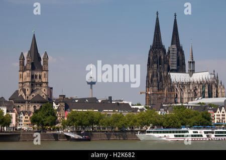 Rhine, Great St Martin Church, Romanesque church, Cologne Cathedral, Cologne, North Rhine-Westphalia - Stock Photo