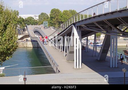 Paris, Pont Simone de Beauvoir over the Seine - Stock Photo