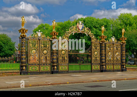 Ornate Town Hall gates at Warrington town centre, Cheshire. - Stock Photo