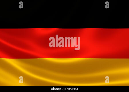 3D rendition of Germany's national flag on silky fabric. - Stock Photo