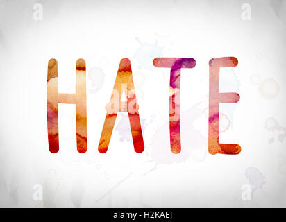 The word 'Hate' written in watercolor washes over a white paper background concept and theme. - Stock Photo
