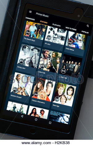 Amazon Prime music app on an android tablet PC, Dorset, England, UK - Stock Photo