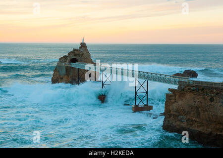 le rocher de la vierge in biarritz in late afternoon pyrenees stock photo royalty free image. Black Bedroom Furniture Sets. Home Design Ideas