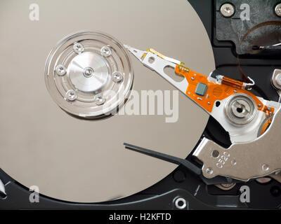 Computer hard disk drive inside - Stock Photo