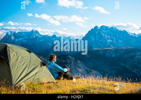 Camping in high mountains  Drei Zinnen Dolomites  Italy - Stock Photo