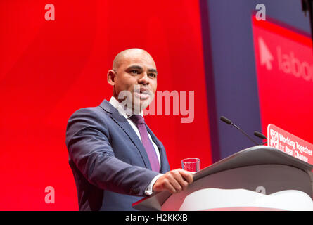 Marvin Rees,Mayor of Bristol and a Labour politician,speaking at the Labour party conference in Liverpool 2016 - Stock Photo