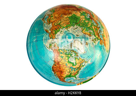 Globe in Russian view from above the North Pole - Stock Photo