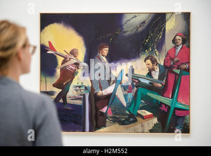Hamburg, Germany. 30th Sep, 2016. A woman looks at the artwork 'Men with Airplanes' by artist Neo Rauch in the exhibition - Stock Photo