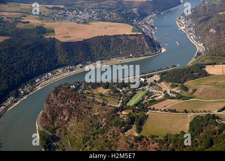 St. Goarshausen, Germany. 23rd Sep, 2016. An aerial view shows the Loreley plateau by the Loreley rock above the - Stock Photo