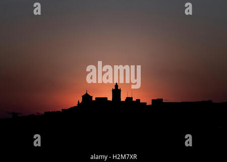 silhouette of the Cittadella, Victoria, Gozo, Malta - Stock Photo