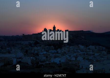 Cathedral, sunset, Cittadella, Victoria, Gozo, Malta - Stock Photo