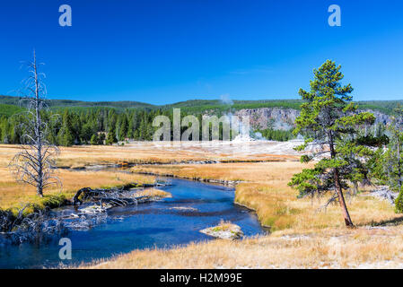 Firehole River running through the Upper Geyser Basin in Yellowstone National Park - Stock Photo