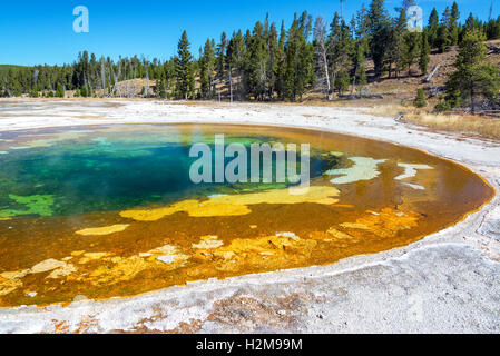Beauty Pool and sky view in Yellowstone National Park - Stock Photo