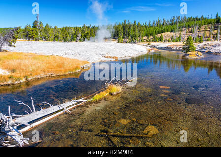 Firehole River with a steaming geyser in the background in Yellowstone National Park - Stock Photo