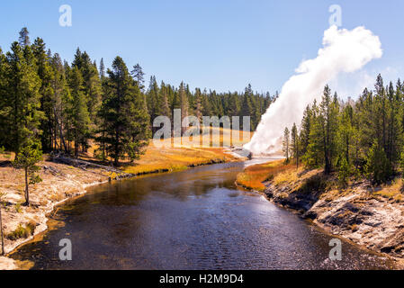View of the Riverside Geyser erupting over the Firehole River in Yellowstone National Park - Stock Photo