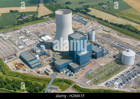 Aerial view, EON 4, coal-fired power plant on the Dortmund-Ems Canal, building freeze, Aerial view of Datteln, Ruhr area,