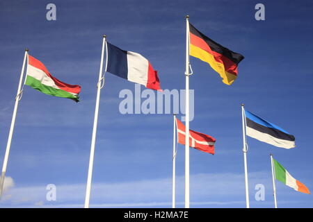 European Union International flags in Hull against a blue sky with wispy clouds. - Stock Photo