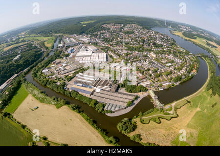 Aerial view, Ruhr river, Ruhrbogen, city overview with Obergraben and Harkortsee, aerial view of Wetter, fisheye, - Stock Photo