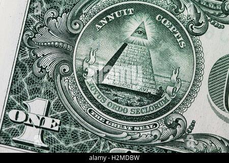 One dollar bill close up - Stock Photo