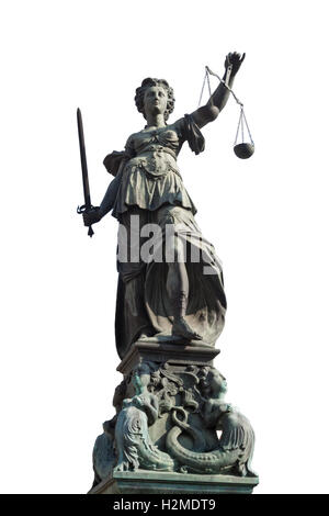 isolated statue of lady justice in frankfurt, Germany - Stock Photo