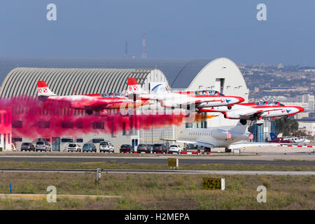 Polish Air Force PZL-Mielec TS-11 Iskra of the display Team Iskry departing after attending the Malta International - Stock Photo