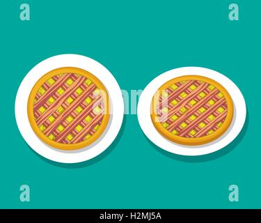 Bacon apple pie on white plate, top view, vector - Stock Photo